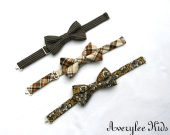 Boys Brown Bow Tie, Brown Plaid Bow Ties, Paisley Bow Tie, Toddler Bow Tie, Wedding Ring Bearer, Rustic Wedding Bow Tie, Infant Bow Tie