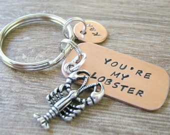 Personalized You're My Lobster Keychain Keychain, Couples Keychain, initial disc, lobster charm, Valentine's Day Gift, Best seller, HPU font