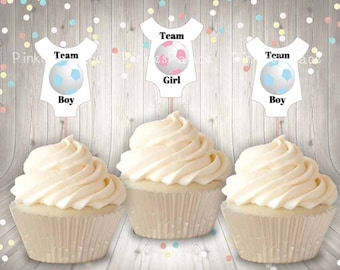 Gender Reveal, Cupcake Toppers, Baby Shirt, Soccer Ball, Team Boy, Team Girl, Pink Soccer Ball, Blue Soccer Ball, Food Picks