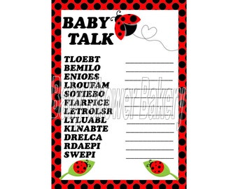 Ladybug Baby Shower Game, Ladybug Baby Word Scramble, Ladybug Theme Baby Shower, Printable Ladybug Shower Game, Instant Download Ladybug