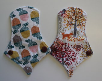 """set of two 6"""" thong liners - acorns + autumn woods"""
