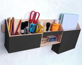 Organizer Black, 0ffice accessories, Wall organizer Black acrylic, Command Center, Mail Organizer, Pen holder, Desk accesories, Office set
