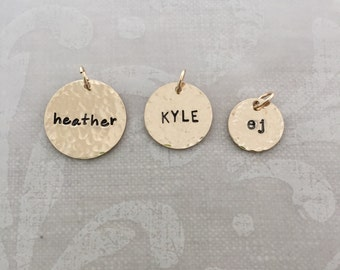 Gold Hammered Name Charms