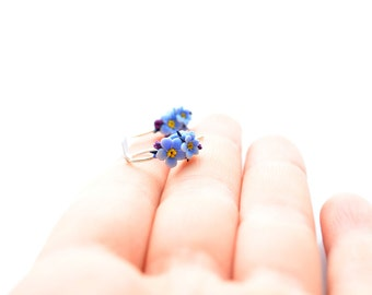 Tiny blue forget me not flowers; polymer clay jewelry; sterling silver hook earrings