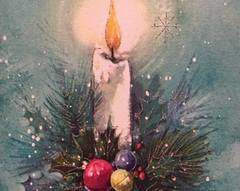 Vintage Christmas Card Wife Aqua Silver Embossed Candle Unused Greeting NOS