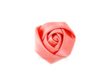 Coral Mini Satin Rolled Flowers Rosettes 1-1/2 inch - Coral Fabric Flowers, Coral Hair Flowers, Coral Silk Flowers, Coral Hair Accessories