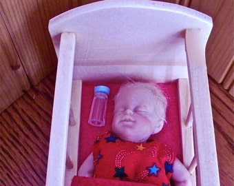 Rocking Cradle and Baby with polymer head, arms, and  soft body 1:6 scale