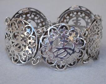 Asian Character Sterling Silver Bracelet Vintage