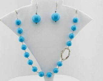 Turquoise 925 Sterling Silver Necklace and Earrings Set