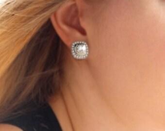 Monogrammed Earring, Sterling Silver Square Pearl Earring, Stud Earring