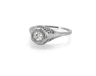 Antique 16ct. Diamond 18K White Gold  Engagement Ring - J35618