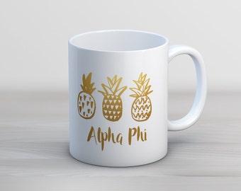 Alpha Phi Faux Gold Foil Pineapple Mug Sorority Coffee Mug