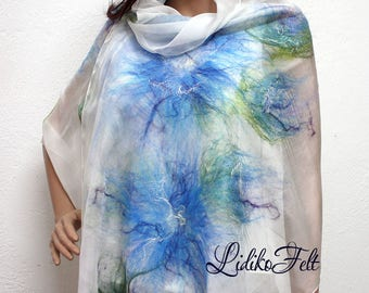 Women Nuno Felted Silk Scarf Shawl Wrap BLUE FLOWERS Ecofriendly