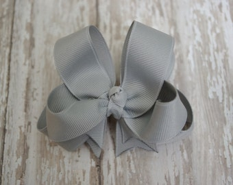 """Girls Hair Bow Silver Gray Double Layered 4"""" Boutique Hairbow"""