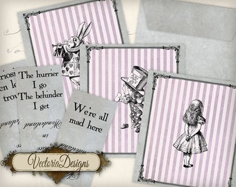 Alice in Wonderland Quotes Tea Bag envelope printable paper craft art hobby scrapbooking instant download digital collage sheet - VD0526