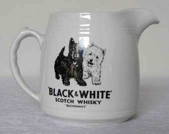 Vintage Black and White Buchanans Scotch whisky water jug / pitcher - HCW Burleigh Ware, England, ca 1960s
