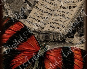 Vintage Butterflies Collage Sheet Instant Digital Download