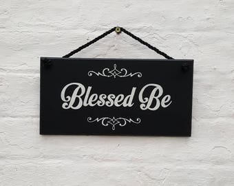 Blessed Be Wooden Hanging Sign Plaque Hand Painted Wiccan Pagan Witch Witchcraft Wicca Gift