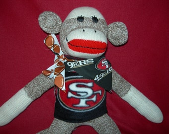 San Francisco Forty-niners Football Brown Red Heel Classic Sock Monkey Doll