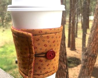 Reusable Coffee Sleeve - Tan & Red