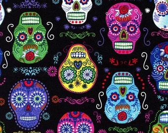 """Timeless Treasures Folklore Sugar Skulls on Black 24"""" Remnant & 34"""" Remnant"""