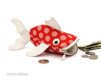 Poisson porte monnaie - poisson rouge-cadeau de Pâques - enfants jouet sac - sac à main organisateur - accessoire de bureau - enfants amusant sac - poisson - prêt à expédier