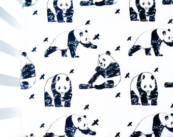Panda Crib Sheet, Fitted Sheet, Baby Crib Sheet, Baby Boy Bedding, Crib Bedding, Toddler Bedding, Crib Fitted Sheet, Crib Sheet