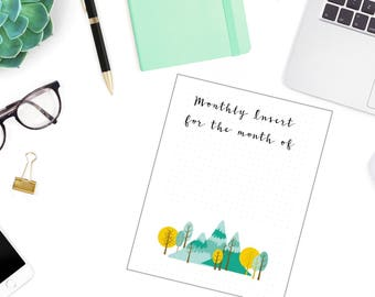 BuJo Monthly Planner Traveler's Notebook Insert Customizable Version 1