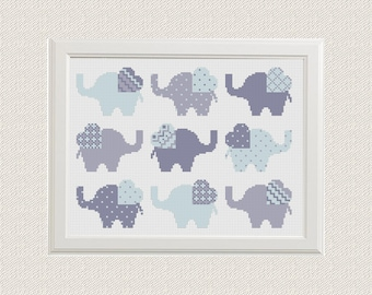 Cross Stitch Pattern, Elephant Cross Stitch Chart, Baby Elephants counted cross stitch Chart, elephant xstitch chart 2 color options