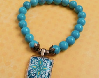 Stretch Tile Charm Bracelet, Magnesitel Gemstones, Spanish, Mexican, Catalina and Mediterranean Tile Inspired with Silver Accents