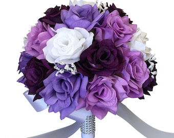"10"" Wedding Bouquet - Purple, Lavender, and White Artificial Roses with Baby Breath Accents"