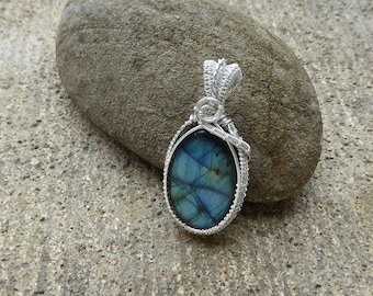 Boho Jewellery - Sterling Silver - Wire Wrapped Labradorite Pendant - Gemstone - Heady Wire Wrap - Blue Labradorite Necklace - Gift for her