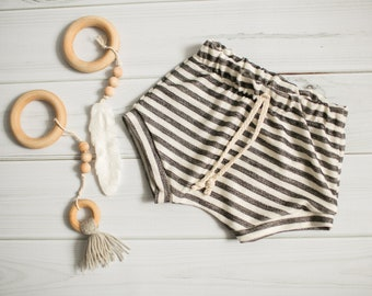 French Terry Baby Knit Shorts \\ Black and White Striped Shorties \\ Baby Shorties \\ Toddler Shorts \\ Baby Shorts \\ Modern Baby Shorties