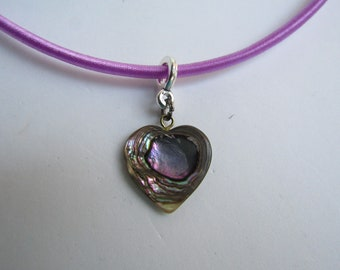 LC Silk 3mm Cord necklace with Vintage Abalone Heart Pendant Love it!
