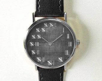 Counting Sticks Watch Watches for Men Women Leather Chalkboard Ladies Vintage Jewelry Accessories Gifts Mens Fashion Drawing  Personalized