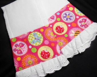 Baby burp cloths, pink burp pads, set of two, baby girl gift, baby shower gift, flower fabric trim, ruffled edge, handmade baby, pink baby