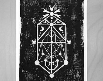 Twin Moon - Occult Woodblock Print - A3
