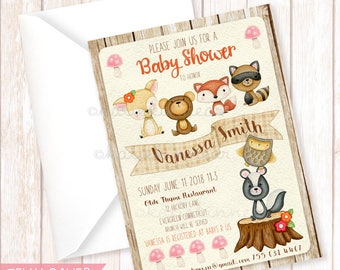 Woodland Baby Shower Invitation,Printable Invitation,DIY Baby Shower,Woodland Animals,Woodland Baby Shower,Baby Shower Invitation,Woodland