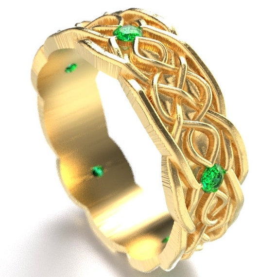 Gold Celtic Wedding Ring With Infinity Symbol Pattern & Emerald Stones in 10K 14K 18K or Palladium, Made in Your Size Cr-1050