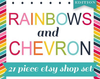 Etsy Banner Cover Set - 20 Piece Rainbow Chevron DIY Template Editable Shop Banner Template Set - Etsy Cover Etsy Shop Set Etsy Template