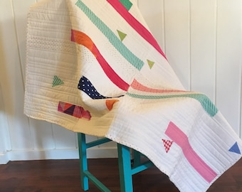 Colourful Stripe on White Handmade Quilt