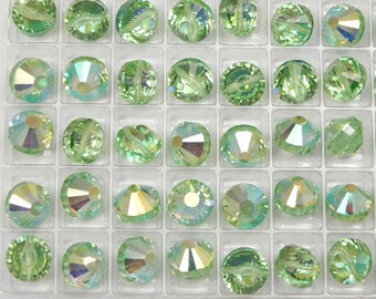 Swarovski 5101 Peridot AB 9mm Vintage Crystal Beads (6 pieces)
