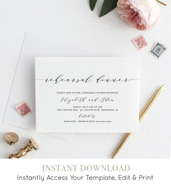 Rehearsal Dinner Invitation, Simple, Modern, INSTANT DOWNLOAD, Wedding Rehearsal Invite Template, Printable, 100% Editable, DIY #037-119RD