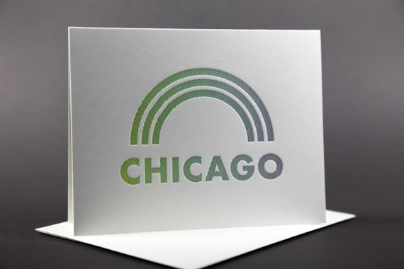 Rainbow Roll: CHICAGO Letterpress card