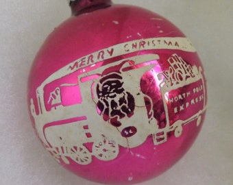 Vintage Shiny Brite Christmas pink stencil ornament Santa Claus train North Pole Express