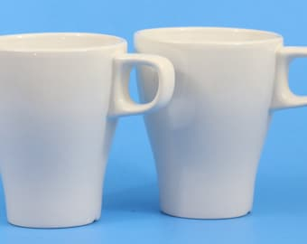 Ikea Fargrik Set of 2 Coffee Mugs, Tea Cups, Stoneware, Stackable, White, NWOT