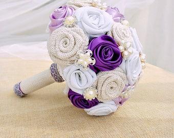 Burlap Bouquet,Purple Brooch Bouquet,Brooch Bouquet with Burlap and Satin Roses,Bouquet with Purple and Lavender Flowers.
