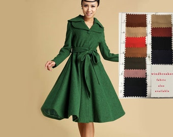 Green coat, Wool coat, Winter coat, black friday sale, trench coat, long jacket, Winter Fashion, princess coat, 50s coat, wool jacket  336