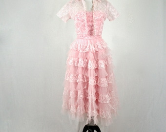 1950s Pink Cupcake Lace and Tulle Strapless Prom Dress with Jacket