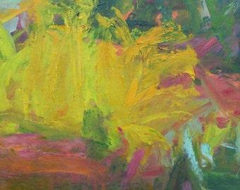 Asparagus Bed GICLEE ART PRINT 11 x 17 abstract landscape golden autumn yellow orange gardens autumn green